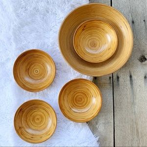 Wooden Large and Small Set of Organic Salad Bowls